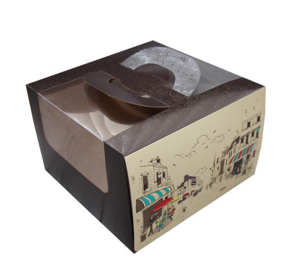 Škatla za torto 250х250х160mm 1,2 kg Randevu s oknom, s ročajem (5 kos/pak)