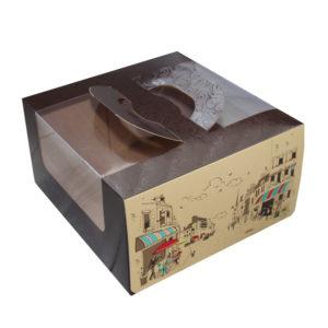 Škatla za torto 230х220х120mm 1 kg Randevu s oknom, s ročajem (5 kos/pak)