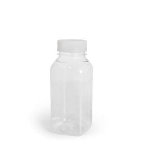 Plastenka PET 300 ml d=38 mm kvadrat z pokrovom, 200 kos (komplet)