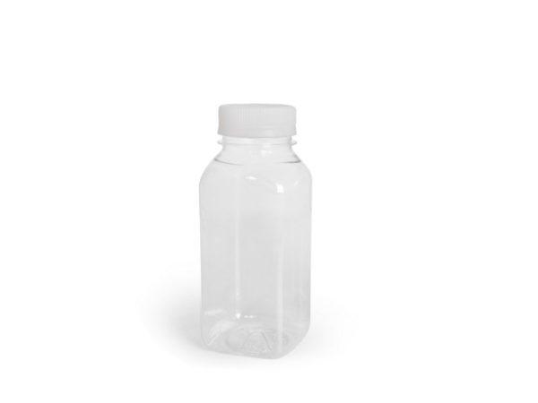Plastenka PET 300 ml d=38 mm kvadrat –  brez pokrova (100 kos/pak)
