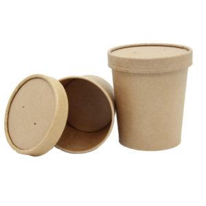 Papirnata posoda s pokrovom za juho Tambien ECO, 340 ml, d = 90 mm, h = 85 mm, kraft, 25 kos (komplet)