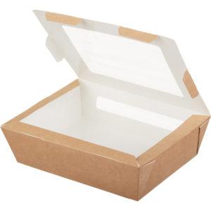 Papirnata posodica z oknom ECO SALAD 190x150x50mm 1000 ml (200 kos/pak)