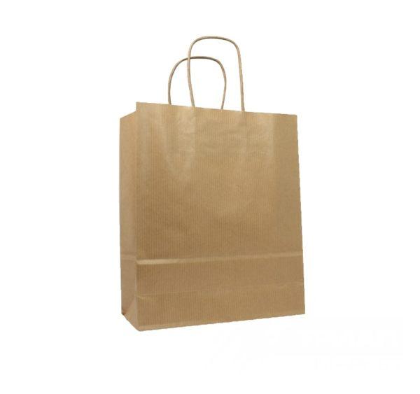 Papirnata vrečka s pletenim ročajem 260 x 140 x 350 mm kraft (250 kos/pak)