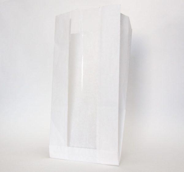 Papirnata vrečka z oknom 130(50)х100х300 mm bela (2300 kos/pak)