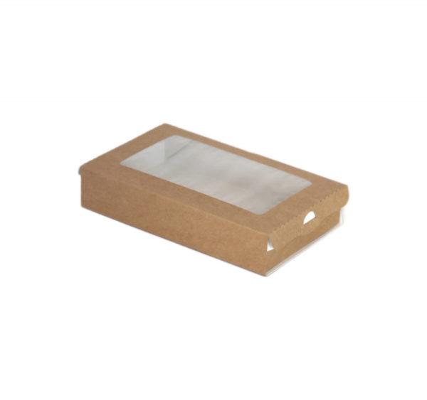 Papirnata posoda z oknom ECO CASE 240 ml 100x80x30 mm kraft (800 kos/pak)
