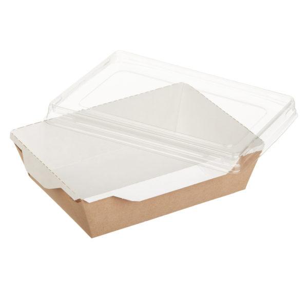 Papirnata posodica s prozornim oknom ECO OpSalad 500 ml 160x120x45 mm kraft (300 kos/pak)