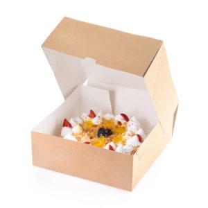 Škatla za torto in slaščice BIO CAKE 6000 ml kraft (15 kos/pak)