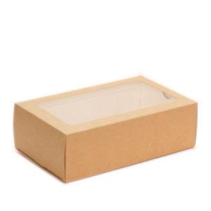 """Papirnata posoda z oknom za sladice """"Makaroni"""" 180x110x55 mm kraft (300 kos/pak)"""