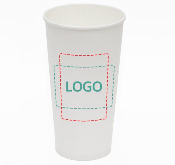 Papirnat kozarec 500 ml d=90 mm 1-slojni bel (45 kos/pak)