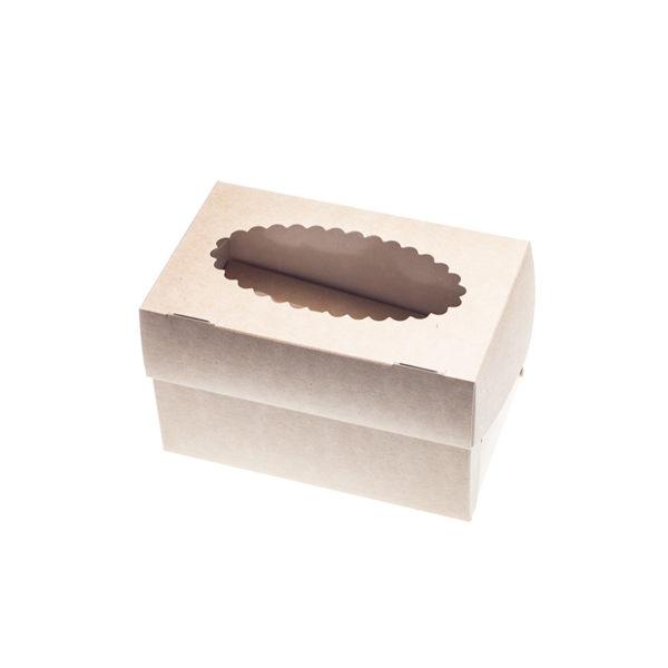Škatla za muffine z oknom 100x160x100 mm kraft (500 kos/pak)