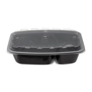 Posoda PP Tambien 211 x 146 x 51 mm, 850 ml, 2-delna, črna s pokrovom (150 kos/pak)