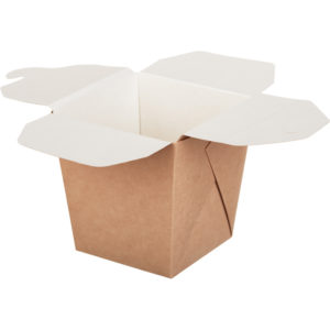 Papirnata škatla ECO NOODLES 700 ml 81x81x106 mm pravokotno dno kraft (360 kos/pak)