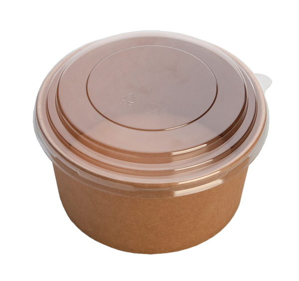 "Papirnata posoda ECO RCONT ""Pure Kraft"" 620 ml d=150 mm h=45 mm s pokrovom (240 kos/pak)"