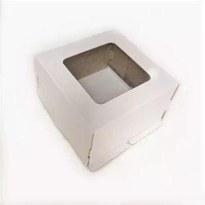 Škatla za torte 300x300x300mm, valovit karton, bela, z oknom, 50 kos (Komplet)
