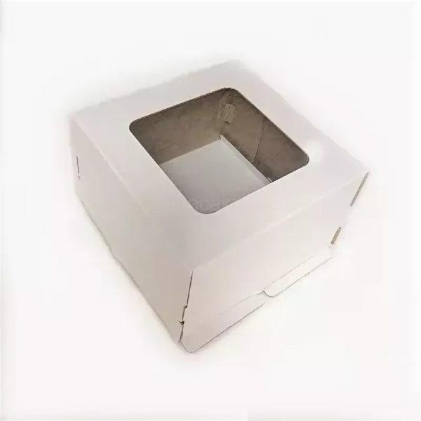 Škatla za torte 300x300x300mm, valovit karton, bela, z oknom (pokrov) (50 kos/pak)