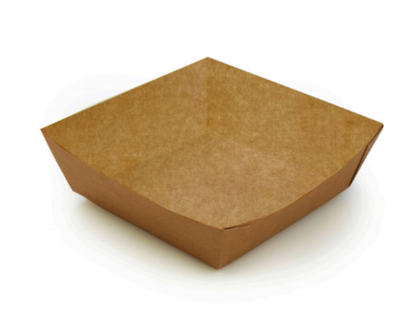Papirnata ladjica ECO TRAY 550 ml 110x110x42 mm kraft (300 kos/pak)