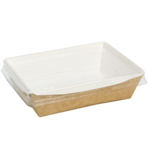 Papirnata posoda s prozornim pokrovom Crystal Box 400 ml 140x100x45 mm kraft (250 kos/pak)