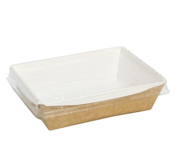 Posoda papirna Crystal Box 400ml s prozornim pokrovom 140x100x45mm, Kraft (250 kos/pak)