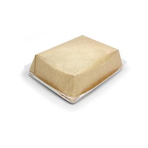 Posoda papirnata Crysatal Box 800 ml sa prozornim pokrovom 180х140х45 mm, kraft (40 kos/pak)