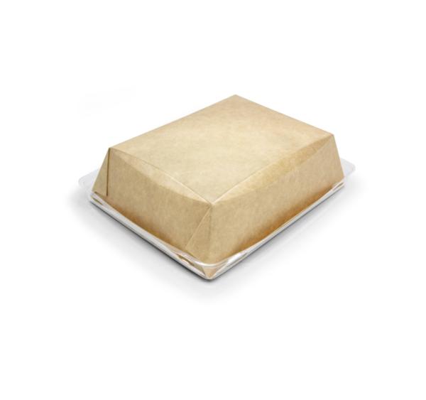 Papirnata posoda s prozornim pokrovom Crystal Box 800 ml 180х140х45 mm kraft
