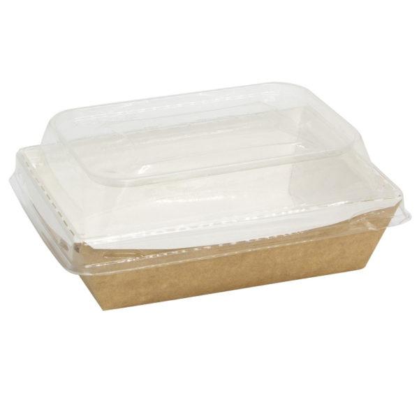 Papirnata posoda s pokrovom kupola Crystal Box 500 ml 160x120x45 mm kraft