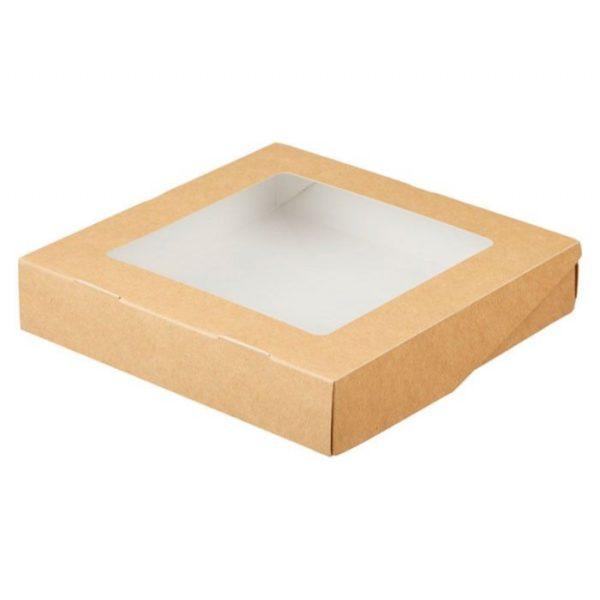 Papirnata posodica z oknom ECO TABOX 2500 ml 260x260x40 mm, Kraft