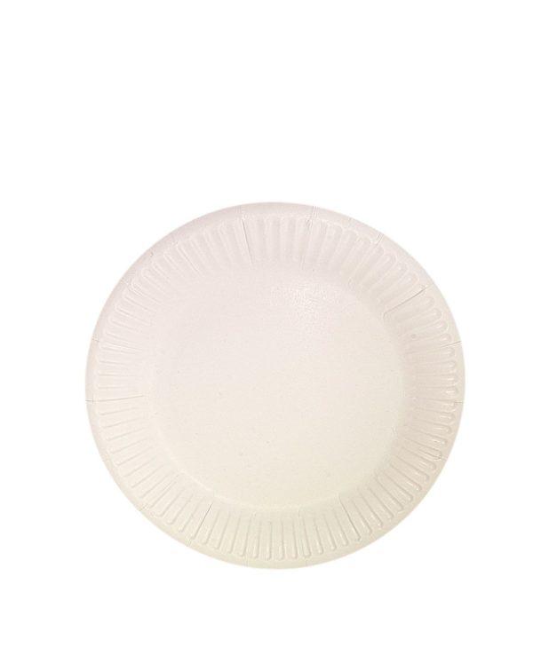 Papirnata plošča d = 180 mm Snack Plate, bela biolaminirana (100 kos/pak)