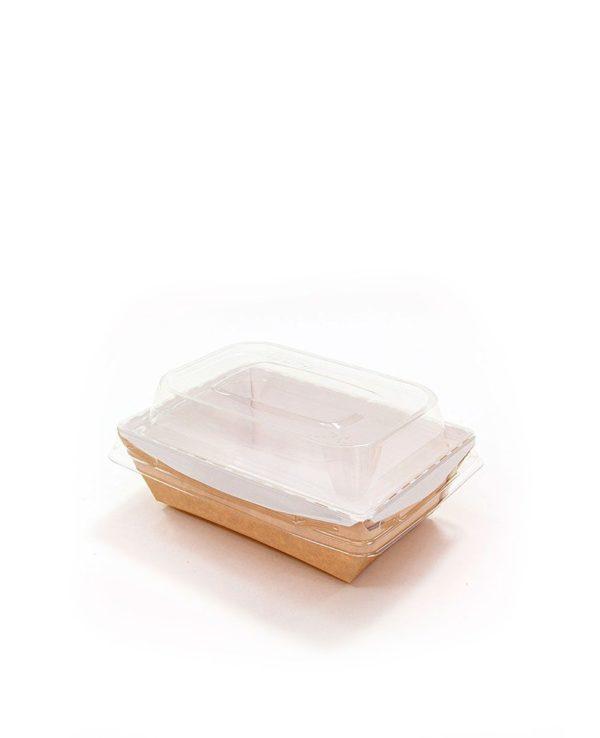Posoda papirna Crystal Box 400ml s pokrovom kupola 100х140х70 mm, Kraft (400 kos/pak)