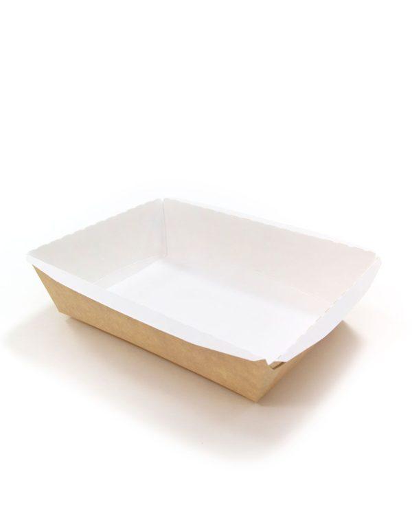Posoda papirna Crystal Box 800ml s pokrovom kupola 140x180x70 mm, Kraft (160 kos/pak)