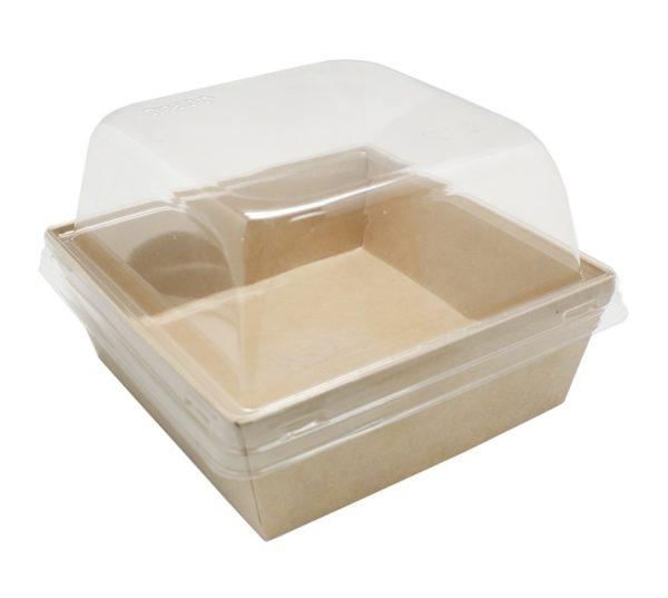 Skatla za salato, burger ECO Prizma 550ml 128x128x50 mm, Kraft (50 kos/pak)