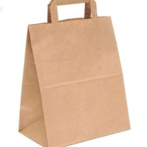 Papirnata nosilna vrečka z ravnim ročajem 240x140x280 mm kraft (300 kos/pak)