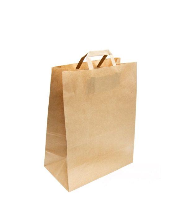 Papirnata nosilna vrečka z ravnim ročajem 280x150x320 mm kraft (250 kos/pak)