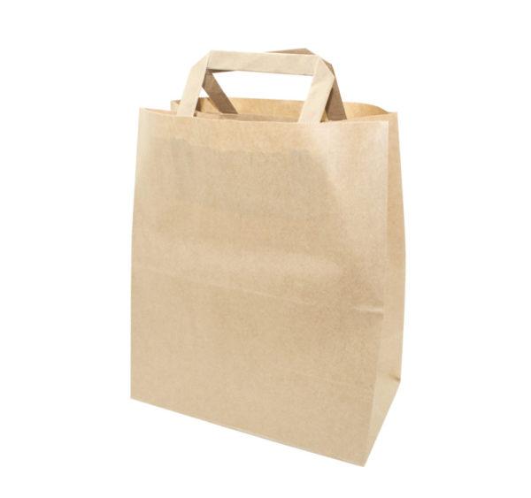 Papirnata nosilna vrečka z ravnim ročajem 320x200x370 mm kraft (250 kos/pak)