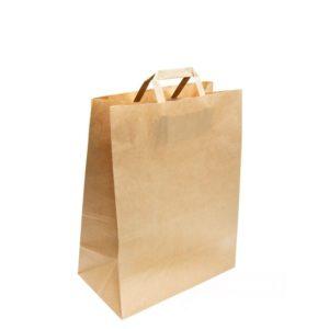 Papirnata vrečka 350x150x450 mm Kraft, z ravnimi ročaji