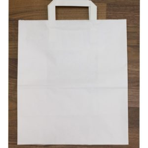 Papirnata nosilna vrečka z ravnim ročajem 240x140x280 mm bela (300 kos/pak)