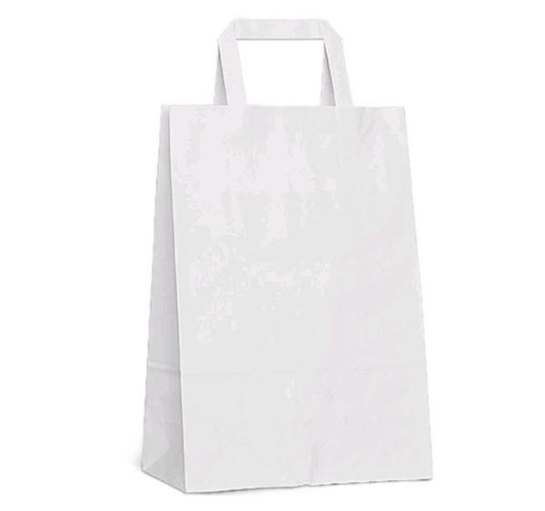 Papirnata nosilna vrečka z ravnim ročajem 350х150х450 mm bela (200 kos/pak)