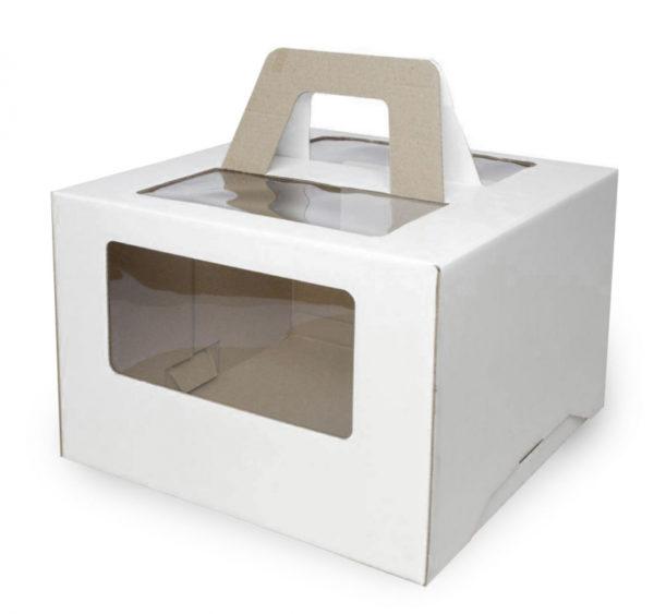 Škatla za torto z oknom, z ročaji 240x240x200 mm mikro valovit karton bela (25 kos/pak)