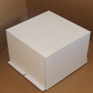 Škatla za torte (dno) 420×420×290 mm bela valovit karton (25 kos/pak)