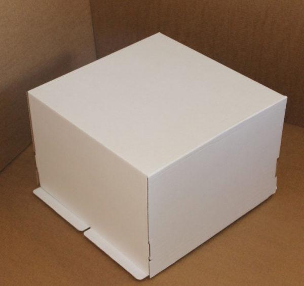 Škatla za torte (pokrov) 420×420×290 mm bela valovit karton (25 kos/pak)