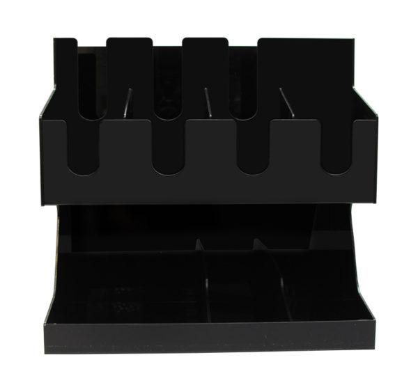 Stojalo za kozarce s 3 razdelki in 8 za pripomočke plasticno črno (AA18-B)
