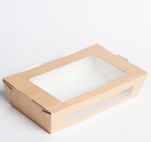 Papirnata posodica z oknom ECO SALAD 600 ml 150x115x50 mm kraft