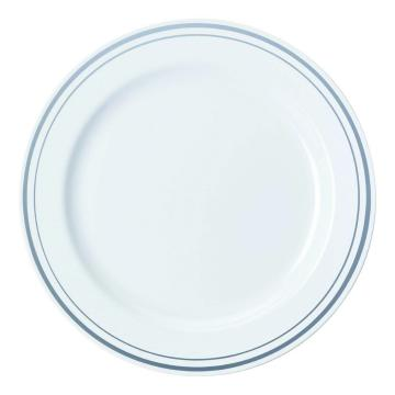 Pladenj Sabert PS d=19 cm beli s srebrno obrobo (120 kos/pak)