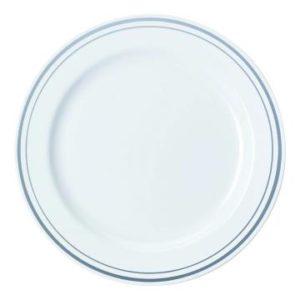 Pladenj Sabert PS d=23 cm beli s srebrno obrobo (90 kos/pak)