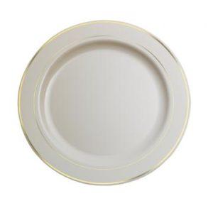 Pladenj Sabert PS d=19 cm beli s zlatom obrobo (120 kos/pak)