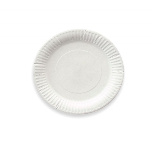 Papirnat krožnik d=170 mm bel glaziran (100 kos/pak)