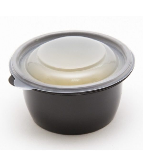 Okrogla posodica s pokrovom PP 500 ml črna, 100 kos (komplet)