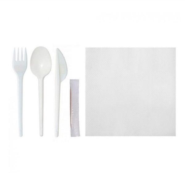 Servirni komplet 5: vilica, nož, žlica, zobotrebec, servieta (bele) (150 kos/pak)
