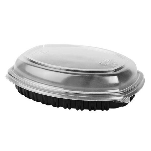 Ovalna posoda s pokrovom PP 257х202mm h-37mm 1450 ml črna, 70 kos (komplet)