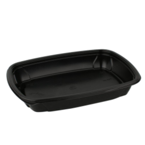 Pravokotna posodica s pokrovom PP 750 ml črna, 100 kos (komplet)