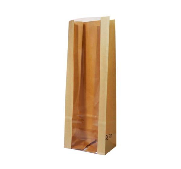 Papirnata vrečka z oknom pravokutno dno 120(80)х80х300 mm kraft (600 kos/pak)